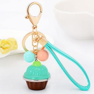 PU Leather Rope Cup Cake Key Chain - Light Green - 4xl