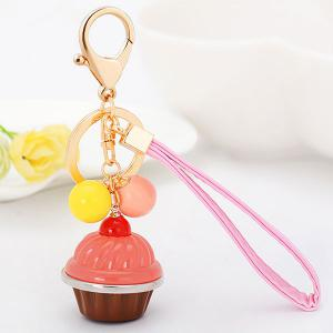 PU Leather Rope Cup Cake Key Chain - Pink