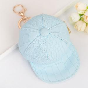 Snake Printed Baseball Hat Coin Purse Key Chain - Sky Blue