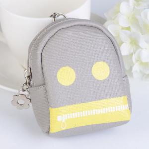 Funny Zipper Coin Purse Key Chain - Gray