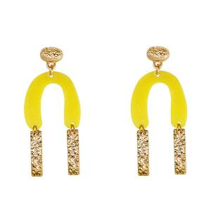 Resin Alloy Horseshoe Bar Drop Earrings - Yellow