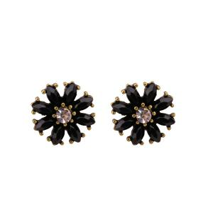 Rhinestone Round Flower Tiny Stud Earrings - Black