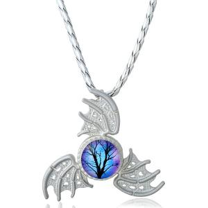 Devil Wings Decoration Fidget Spinner Necklace - Silver