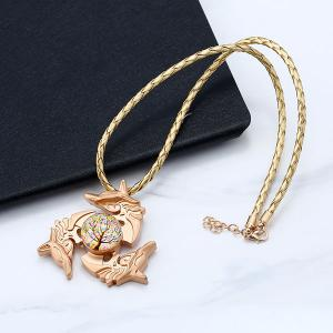 Tree of Life Dolphin Fidget Spinner Decoration Necklace - GOLDEN
