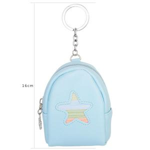 Faux Leather Coin Purse Key Chain - LIGHT BLUE