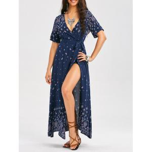 Bohemia Paisley Print Plunging Wrap Maxi Dress