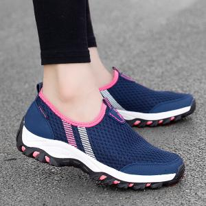 Mesh Color Block Breathable Athletic Shoes - Deep Blue - 40