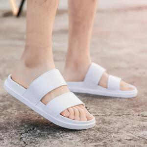 Faux Leather Double Strap Slippers - White - 40