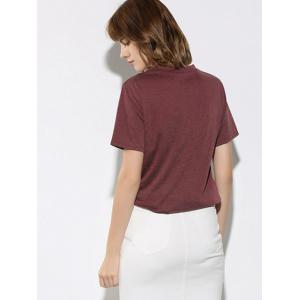 Letter and Dinosaur Pattern Short Sleeve T-Shirt - WINE RED L