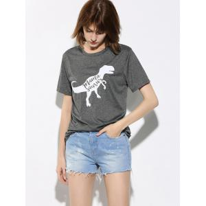 Letter and Dinosaur Pattern Short Sleeve T-Shirt - GRAY XL