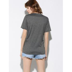 Letter and Dinosaur Pattern Short Sleeve T-Shirt - GRAY S