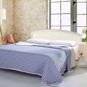 100 Percent Striped Long Stapled Cotton Blanket - Deep Blue - Queen
