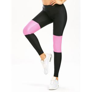 Color Block High Waist Workout Leggings - Black - Xl