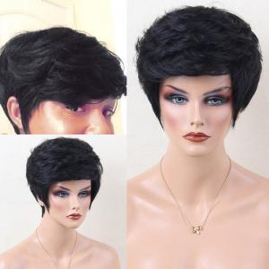 Short Layered Shaggy Side Bang Slightly Curled Human Hair Wig - Jet Black #01