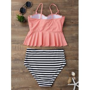 High Waisted Striped Flounce Peplum Tankini - Orange Rose S