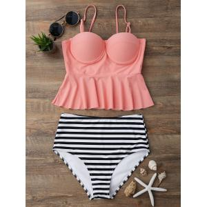 High Waisted Striped Flounce Peplum Tankini - Orangepink - L