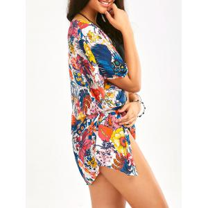 Colorful Flower Print Chiffon Beach Cover Up