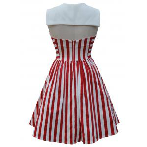 Backless Sailor Collar Striped Pin Up Dress - Rouge L