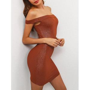 Off The Shoulder Mini Bodycon Dress - Brown - L