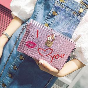 Lock Detail Chain Crossbody Bag - PINK