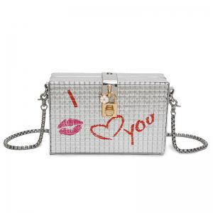Lock Detail Chain Crossbody Bag - Silver - Xl