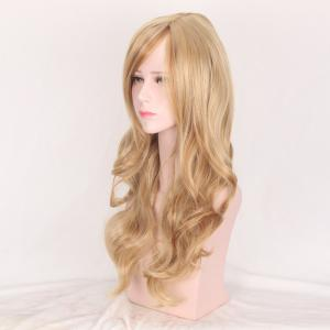 Colormix Side Bang Layered Long Wavy Party Synthetic Wig - Brown And Golden