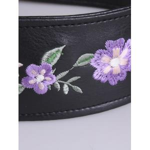 Floral Embroidered Faux Leather Round Buckle Belt -