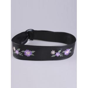 Floral Embroidered Faux Leather Round Buckle Belt