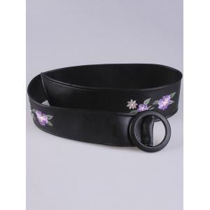 Floral Embroidered Faux Leather Round Buckle Belt - PURPLE