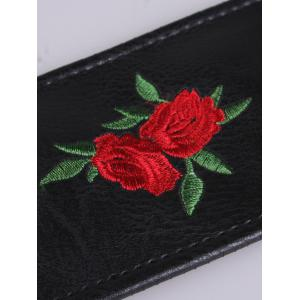 Floral Embroidered Faux Leather Round Buckle Belt - RED