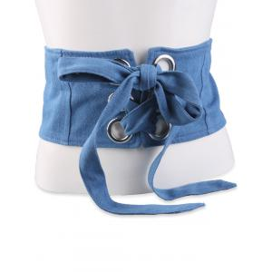 Snap Button Lace Up Wide Corset Belt - Light Blue - 6xl