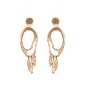 Gold Alloy Drop Statement Earrings - Golden