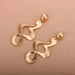 Wave Shaped Gold Plated Drop Earrings - GOLDEN