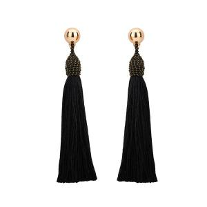Bohemia Tassel Drop Statement Earrings - Black - L