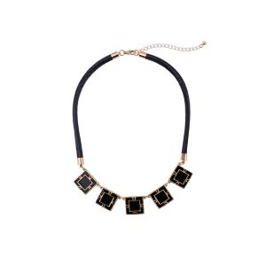 Geometric PU Rope Belt Embellished Necklace
