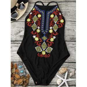 Emrbroidered Cross Back One Piece Swimsuit