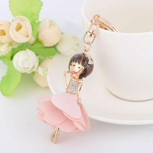 Rhinestoned Bow Fairy Key Chain - Pink