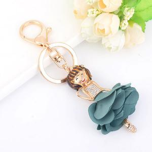 Rhinestoned Bow Fairy Key Chain - Light Blue