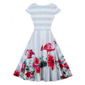 Vintage Floral Flamingo Print Striped Dress - LIGHT BLUE 2XL