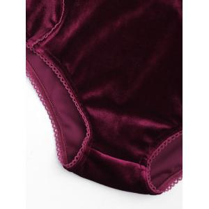 Velvet High Waist Bra Set - BURGUNDY L