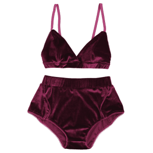 Velvet High Waist Bra Set -