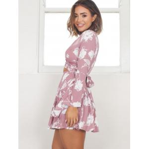Flared Sleeve Drop Waist Short Dress -