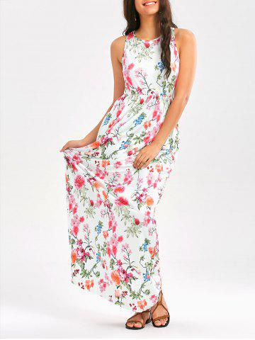 Buy Floral Print High Waist Sleeveless Maxi Dress - White 2xl