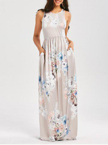 Online Maxi Floral Racerback Semi Formal Prom Dress LIGHT GRAY XL