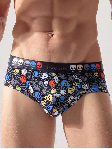 Latest Skull Print Brief Bikini Surf Swimwear