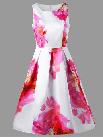 Sleeveless Fit and Flare Floral Party Dress - Colormix - M
