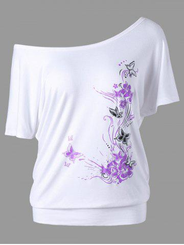 Trendy Skew Collar Butterfly and Floral T-Shirt