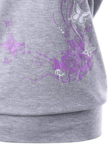 Affordable Skew Collar Butterfly and Floral T-Shirt - 2XL GRAY Mobile