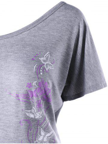 Shops Skew Collar Butterfly and Floral T-Shirt - 2XL GRAY Mobile