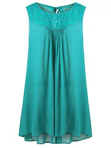 Affordable Plus Size Embroidered Trapeze Swing Dress - XL BLUE GREEN Mobile